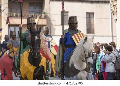 MONTBLANC, CATALONIA, SPAIN - APRIL 2015 - Medieval week of Saint George on April 19, 2015 in Montblanc, Catalonia, Spain