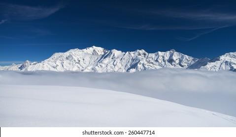 Mont-Blanc massive, winter mountain landscape