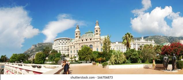 The Monte Carlo Casino is landmark in Monte Carlo, Monaco, Cote de Azul, France, Europe. It includes a casino, the Grand Theatre de Monte Carlo, and the office of Les Ballets de Monte Carlo.