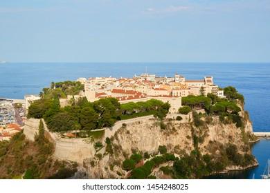 Monte Carlo city aerial view in a sunny summer day, blue sky in Monte Carlo, Monaco.