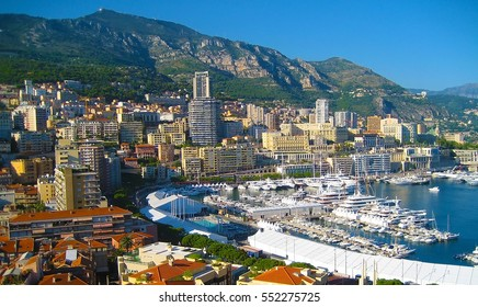 Monte Carlo city panorama, port.  View of luxury yachts and apartments in harbor of Monaco, Cote d'Azur