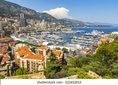 Monte Carlo city skyline panorama. Aerial view of luxury yachts and apartments in harbor of Monte Carlo, Monaco, Cote d'Azur