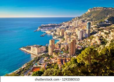 Monte Carlo cityscape colorful view from above, Principality of Monaco