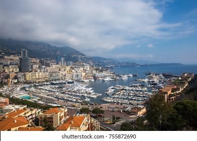 Monte Carlo cityscape and harbor. Principality of Monaco