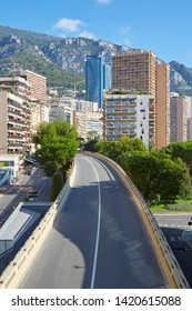 Monte Carlo empty flyover street and skyscrapers in a sunny summer day in Monaco