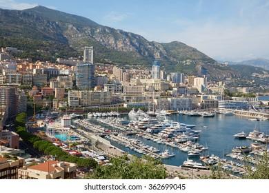 Monte Carlo harbor in a summer sunny day, Monaco