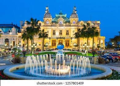 Monte carlo, March, 12-2018:The grand casino in Monaco at night