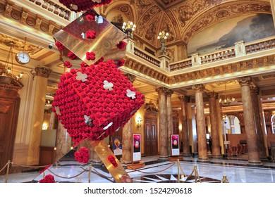 MONTE CARLO, MONACO - 01 MAY, 2019: Famous Monte Carlo Casino hall interior.