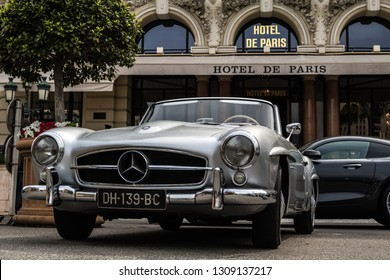 Monte Carlo, Monaco 10 February 2019, The Mercedes-Benz 190 SL (W121) is a two-door luxury roadster produced between May 1955 and February 1963 in silver color by Hotel de Paris in Monte-Carlo