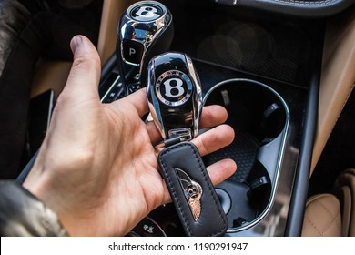 Monte Carlo, Monaco 17 September 2018 Bentley Bentayga luxury crossover SUV interior dashboard keys in hand