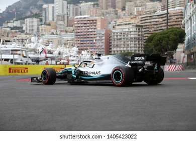 Monte Carlo, Monaco - 23 May 2019.Lewis Hamilton of Mercedes AMG Petronas Motorsport on track during practice for  the F1 Grand Prix of Monaco