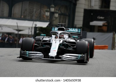 Monte Carlo, Monaco - 23 May 2019. Lewis Hamilton of Mercedes AMG Petronas Motorsport on track during practice for  the F1 Grand Prix of Monaco