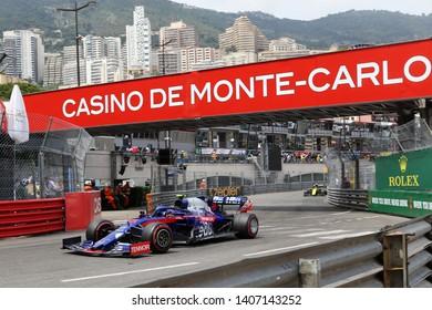 Monte Carlo, Monaco - 25th May , 2019. Daniil Kvyat of Red Bull Toro Rosso Honda on track during practice for  the F1 Grand Prix of Monaco
