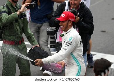 Monte Carlo, Monaco - 26th May , 2019. Lewis Hamilton of Mercedes AMG Petronas Motorsport celebrates in parc ferme after the F1 Grand Prix of Monaco