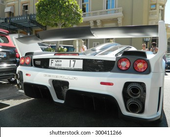 MONTE CARLO, MONACO - 27 JULY 2015 - Back, exhaust, and wing of exotic and unique car,Gemballa MIG-U1, it is based on the Ferrari Enzo,it is unique. initials form : MIG-U1 27 July 2015 in Monte Carlo.