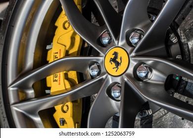 Monte Carlo, Monaco 7 December 2018, Ferrari 458 Italia Spider 2019, wheels with Ferrari logotype and yellow breaks, ceramic brakes