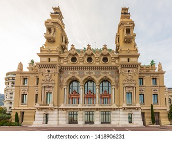 Monte Carlo, Monaco - Apr 18, 2019: Wide view on building of the opera and casino in Monte Carlo in the Principality of Monaco