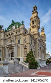 Monte Carlo, Monaco - Apr 18, 2019: building of the opera and casino in Monte Carlo in the Principality of Monaco