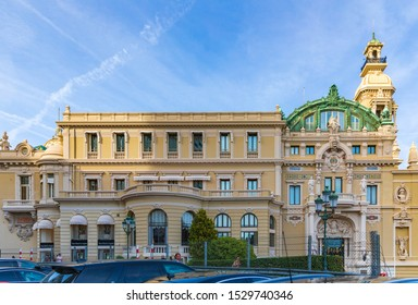 Monte Carlo, Monaco - Apr 18, 2019: Front view on building of the casino and opera in Monte Carlo in the Principality of Monaco