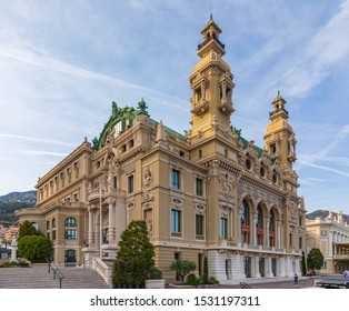 Monte Carlo, Monaco - Apr 18, 2019: View on building of the opera and casino in Monte Carlo in the Principality of Monaco