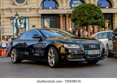MONTE CARLO,  MONACO - AUG 13, 2017: Audi car in Monte Carlo, a place with lots of new high class automobiles