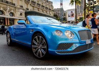 MONTE CARLO,  MONACO - AUG 13, 2017: Bentley car in Monte Carlo, a place with lots of new high class automobiles