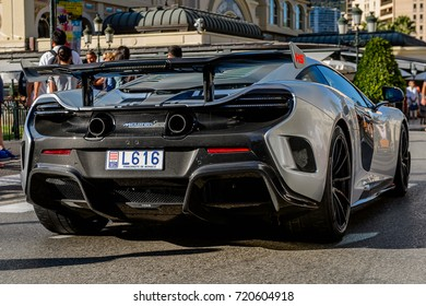 MONTE CARLO,  MONACO - AUG 13, 2017: McLaren car in Monte Carlo, a place with lots of new high class automobiles