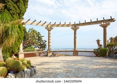 MONTE CARLO, MONACO - AUGUST 20, 2016: The exotic garden, botanical garden terrace with sea view, sunlight in Monte Carlo, Monaco.