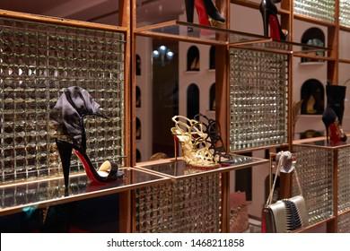MONTE CARLO, MONACO - AUGUST 20, 2016: Christian Louboutin high heel shoes in Louboutin luxury store in Monte Carlo, Monaco.