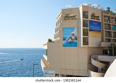 MONTE CARLO, MONACO - AUGUST 21, 2016: Fairmont luxury hotel building in a sunny summer day, sea view and Nikki beach terrace in Monte Carlo, Monaco.
