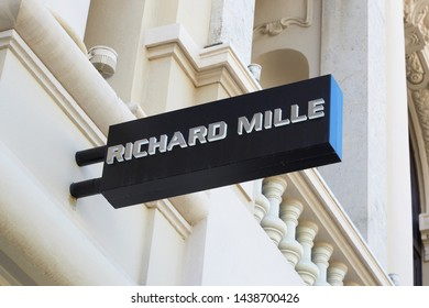 MONTE CARLO, MONACO - AUGUST 21, 2016: Richard Mille luxury watch store sign in Monte Carlo, Monaco.