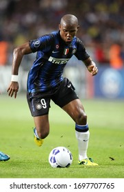 Monte Carlo, MONACO - August 27, 2010:  Samuel Eto'o  in action  during the UEFA Super Cup FC Internazionale v Atletico Madrid at the Louis II stadium.