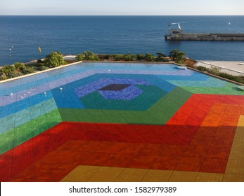 MONTE CARLO, MONACO - December 8, 2019: Hexa Grace by Victor Vasarely colorful tiled roof of the Monaco Convention Center, Auditorium Rainier III