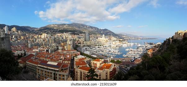 MONTE CARLO, MONACO - JANUARY 18: Hercules harbour panorama in Monte Carlo on JANUARY 18, 2012. Aerial photo of Hercules harbour and La Condamine panorama in Monte Carlo, Monaco.