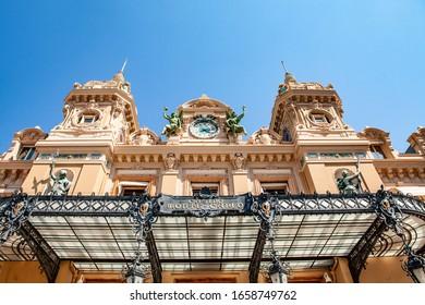 Monte Carlo, Monaco - July 2, 2019: The grand casino in Monaco