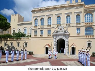 MONTE CARLO, MONACO - JULY 5, 2018: Ceremonial changing of guard at residence of Prince of Monaco. Guards unit was created in 1817 to provide security for the Palace, Sovereign Prince and his family.