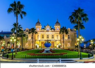 Monte Carlo, Monaco: July 8, 2018 - Front of the Grand Casino at dusk.