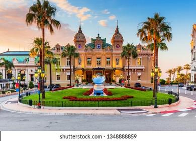 Monte Carlo, Monaco: July 8, 2018 - Front of the Grand Casino at sunrise.