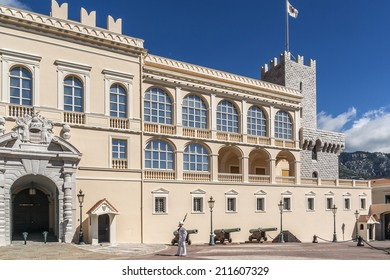 MONTE CARLO, MONACO - JULY 8, 2014: Guard on duty at official residence of Prince of Monaco. Guards unit was created in 1817 to provide security for the Palace, the Sovereign Prince and his family.