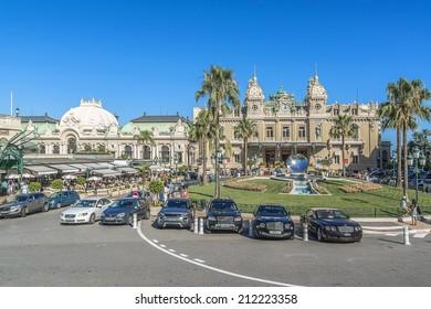 MONTE CARLO, MONACO - JULY 8, 2014: View Place du Casino. Monte Carlo Casino (architect Charles Garnier) is a gambling and entertainment complex includes a Casino and Grand Theater de Monte Carlo.