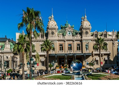 MONTE CARLO, MONACO - JULY 8, 2014: View Place du Casino. Monte Carlo Casino (architect Charles Garnier) is a gambling and entertainment complex includes a Casino and Grand Theater de Monte Carlo.