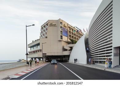 MONTE CARLO, MONACO - JUN 24, 2014:  Architecture of Monte Carlo, Monaco. Monte Carlo is host to the Formula One Monaco Grand Prix,  European Poker Tour Grand Final, UEFA Supercup and other