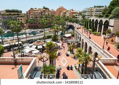 MONTE CARLO, MONACO - JUNE 04, 2019: Fontvielle Harbour, Monaco, on the French Riviera.