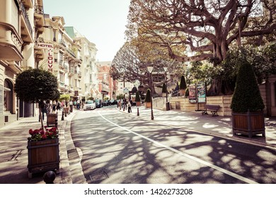 MONTE CARLO, MONACO - JUNE 04, 2019: Beautiful old architecture style of residential buildings in the old city center in Monte Carlo in Monaco