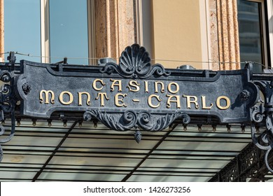 MONTE CARLO, MONACO - JUNE 04, 2019: Casino building facade in a sunny summer day in Monte Carlo, Monaco.