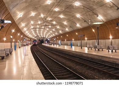 Monte Carlo, Monaco - June 27, 2018: Train is arriving Monte Carlo railway station, Monaco