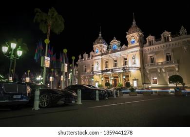 Monte Carlo, Monaco - March 29, 2019: Night view of the famous Grand Casino in Monte Carlo