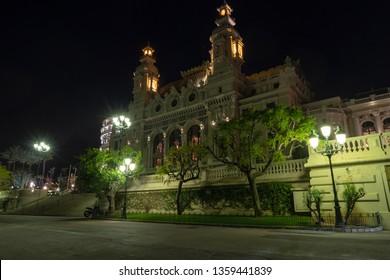 Monte Carlo, Monaco - March 29, 2019: Night view seaside facade of the Salle Garnier, home of the Monte Carlo Opera