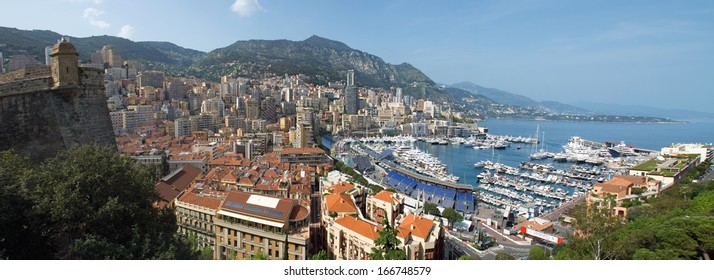 MONTE CARLO, MONACO - MAY 1: Harbour and panoramic viewed from the Palace Square on May 1, 2013 in Monte Carlo, Monaco.