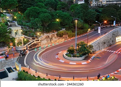 MONTE CARLO, MONACO - October 07, 2014: The Grand Hotel hairpin in Monte Carlo at night on October 07, 2014 in Monaco. Monte Carlo is host to the Formula One Monaco Grand Prix.
